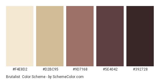 Brutalist - Color scheme palette thumbnail - #F4E8D2 #D2BC95 #9D7168 #5E4042 #392728