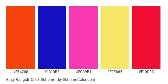 Easy Rangoli - Color scheme palette thumbnail - #F54208 #1310BF #FC39B1 #F9E665 #F10C33