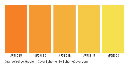 Orange-Yellow Gradient - Color scheme palette thumbnail - #F58025 #F59830 #F5B03B #F5C845 #F5E050