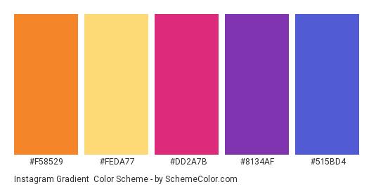Instagram Gradient - Color scheme palette thumbnail - #F58529 #FEDA77 #DD2A7B #8134AF #515BD4