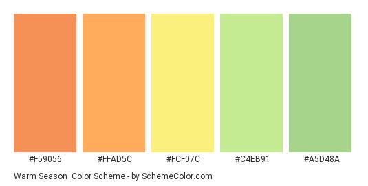 Warm Season - Color scheme palette thumbnail - #F59056 #FFAD5C #FCF07C #C4EB91 #A5D48A