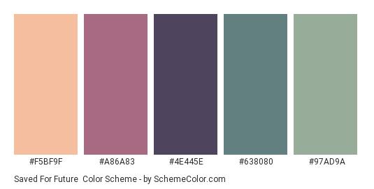 Saved for Future - Color scheme palette thumbnail - #F5BF9F #A86A83 #4E445E #638080 #97AD9A