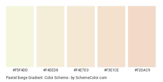 Pastel Beige Gradient - Color scheme palette thumbnail - #F5F4DD #F4EED8 #F4E7D3 #F3E1CE #F2DAC9