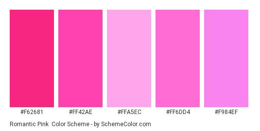 Romantic Pink - Color scheme palette thumbnail - #F62681 #FF42AE #FFA5EC #FF6DD4 #F984EF