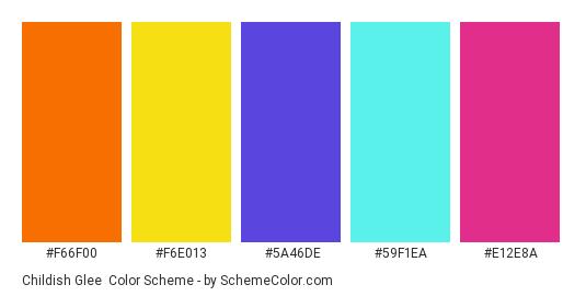 Childish Glee - Color scheme palette thumbnail - #F66F00 #F6E013 #5A46DE #59F1EA #E12E8A