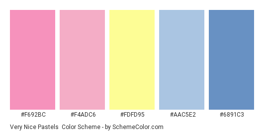 Very Nice Pastels - Color scheme palette thumbnail - #F692BC #F4ADC6 #FDFD95 #AAC5E2 #6891C3