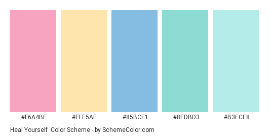 Heal Yourself - Color scheme palette thumbnail - #F6A4BF #FEE5AE #85BCE1 #8EDBD3 #B3ECE8