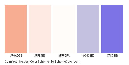 Calm Your Nerves - Color scheme palette thumbnail - #F6AD92 #FFE9E3 #FFFCFA #C4C1E0 #7C73E6