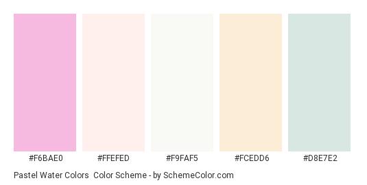 Pastel Water Colors - Color scheme palette thumbnail - #F6BAE0 #FFEFED #F9FAF5 #FCEDD6 #D8E7E2