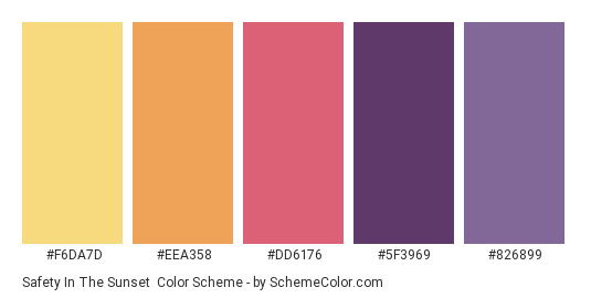Safety in the Sunset - Color scheme palette thumbnail - #F6DA7D #EEA358 #DD6176 #5F3969 #826899