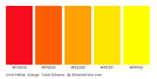 Vivid Yellow, Orange & Red - Color scheme palette thumbnail - #F70D1B #FF5E00 #FFA200 #FFE301 #FFFF00