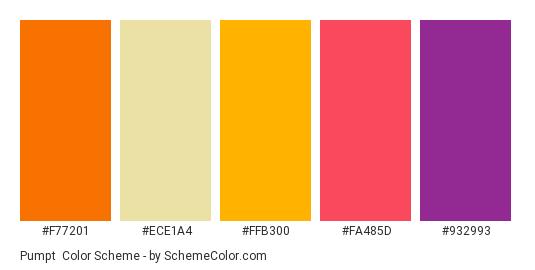 Pumpt - Color scheme palette thumbnail - #F77201 #ECE1A4 #FFB300 #FA485D #932993
