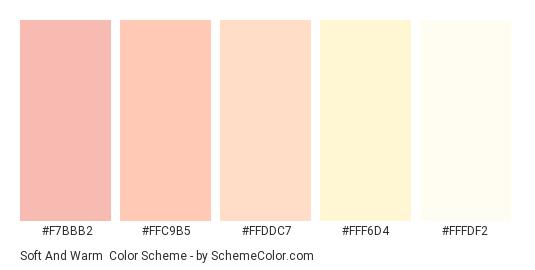 Soft and Warm - Color scheme palette thumbnail - #F7BBB2 #FFC9B5 #FFDDC7 #FFF6D4 #FFFDF2