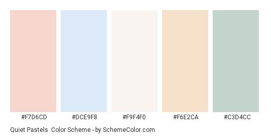 Quiet Pastels - Color scheme palette thumbnail - #F7D6CD #DCE9F8 #F9F4F0 #f6e2ca #C3D4CC