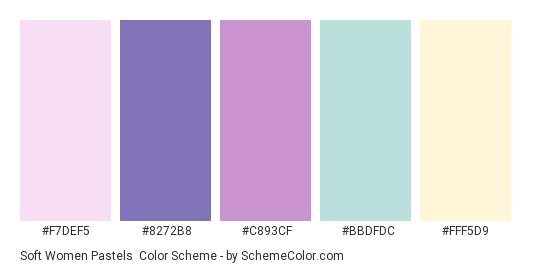 Soft Women Pastels - Color scheme palette thumbnail - #F7DEF5 #8272B8 #C893CF #BBDFDC #FFF5D9