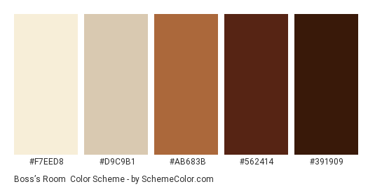 Boss's Room - Color scheme palette thumbnail - #F7EED8 #D9C9B1 #AB683B #562414 #391909