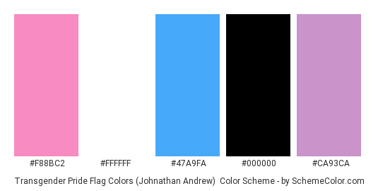Transgender Pride Flag Colors (Johnathan Andrew) - Color scheme palette thumbnail - #F88BC2 #FFFFFF #47A9FA #000000 #CA93CA