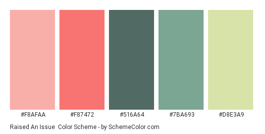 Raised an Issue - Color scheme palette thumbnail - #F8AFAA #F87472 #516A64 #7BA693 #D8E3A9