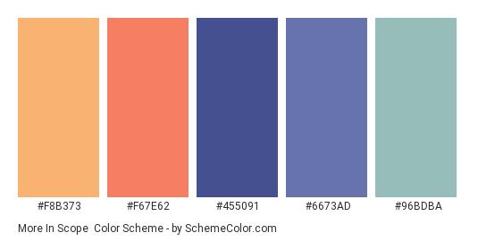 More in Scope - Color scheme palette thumbnail - #F8B373 #F67E62 #455091 #6673ad #96bdba