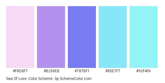 Sea of Love - Color scheme palette thumbnail - #F8D8F7 #B290EB #787BF1 #85E7F7 #92F4F6