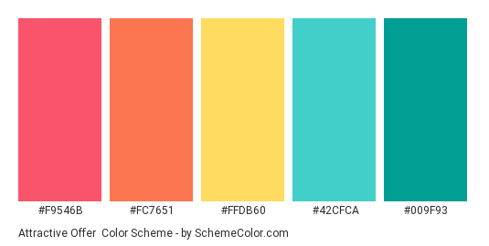 Attractive Offer - Color scheme palette thumbnail - #F9546B #FC7651 #FFDB60 #42CFCA #009F93