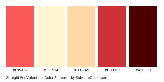 Straight for Valentine - Color scheme palette thumbnail - #F95A57 #FFF7D4 #FFD9A5 #CC3336 #4C0000