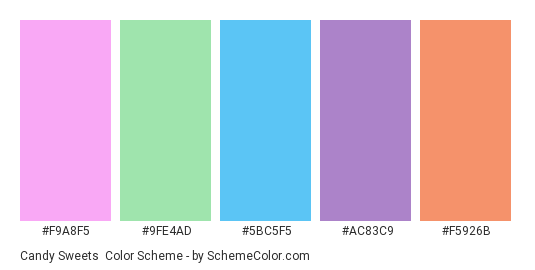 Candy Sweets - Color scheme palette thumbnail - #F9A8F5 #9FE4AD #5BC5F5 #AC83C9 #F5926B