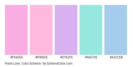 Fresh Love - Color scheme palette thumbnail - #F9ADE0 #FFBBDE #D7B2F0 #96E7DE #A3CCEB