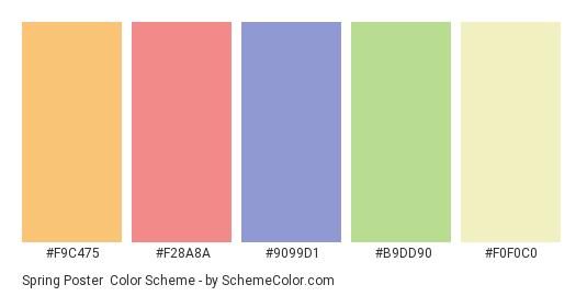 Spring Poster - Color scheme palette thumbnail - #F9C475 #F28A8A #9099D1 #B9DD90 #F0F0C0