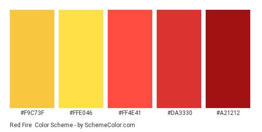 Red Fire - Color scheme palette thumbnail - #F9C73F #FFE046 #FF4E41 #DA3330 #a21212