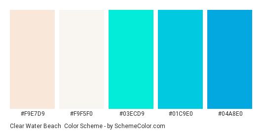 Clear Water Beach - Color scheme palette thumbnail - #F9E7D9 #F9F5F0 #03ECD9 #01C9E0 #04A8E0