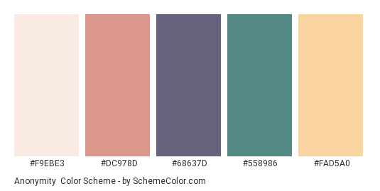 Anonymity - Color scheme palette thumbnail - #F9EBE3 #DC978D #68637D #558986 #FAD5A0