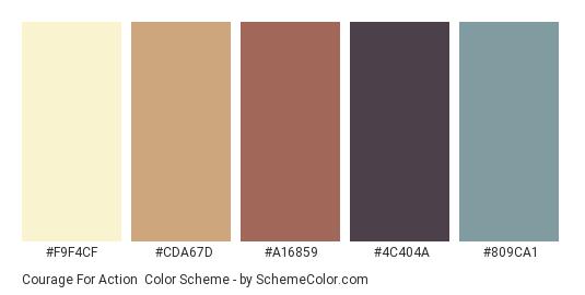 Courage for Action - Color scheme palette thumbnail - #F9F4CF #CDA67D #A16859 #4C404A #809CA1