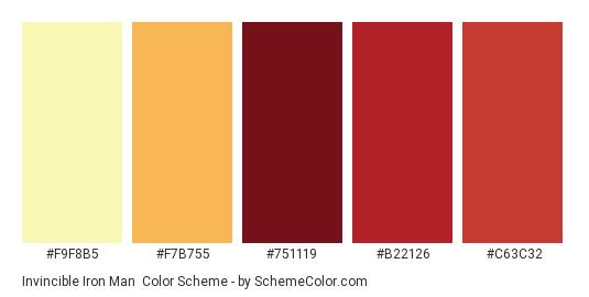 Invincible Iron Man - Color scheme palette thumbnail - #F9F8B5 #F7B755 #751119 #B22126 #C63C32