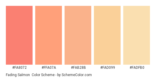 Fading Salmon Color Scheme Palette Thumbnail Fa8072 Ffa07a Fab28b Fad099
