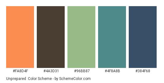 Unprepared - Color scheme palette thumbnail - #FA8D4F #4A3D31 #96BB87 #4F8A8B #384F68