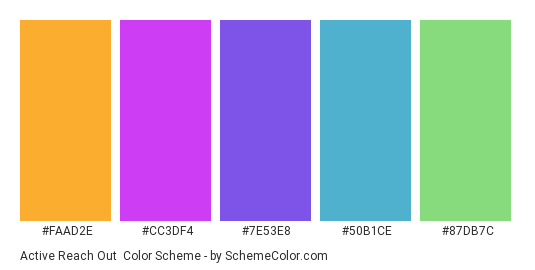 Active Reach Out - Color scheme palette thumbnail - #FAAD2E #CC3DF4 #7E53E8 #50B1CE #87DB7C
