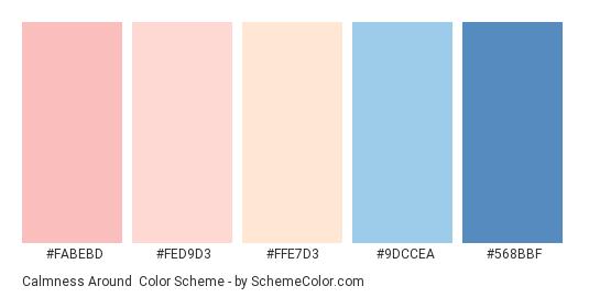 Calmness Around - Color scheme palette thumbnail - #FABEBD #FED9D3 #FFE7D3 #9DCCEA #568BBF