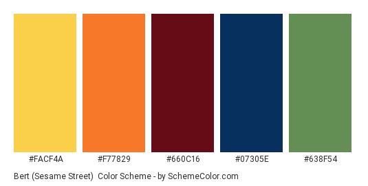 Bert (Sesame Street) - Color scheme palette thumbnail - #FACF4A #F77829 #660C16 #07305E #638F54