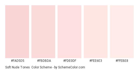 Soft Nude Tones - Color scheme palette thumbnail - #FAD5D5 #FBDBDA #FDE0DF #FEE6E3 #FFEBE8
