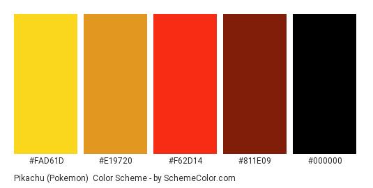 Pikachu (Pokemon) - Color scheme palette thumbnail - #FAD61D #E19720 #F62D14 #811E09 #000000