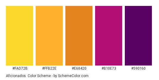 Aficionados - Color scheme palette thumbnail - #FAD72B #FFB22E #E68420 #B10E73 #590160