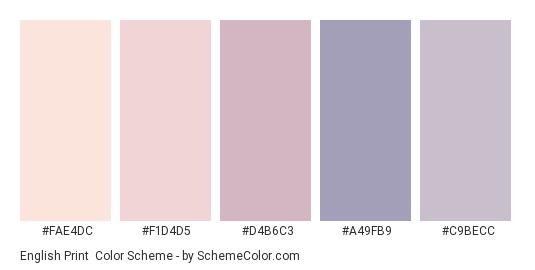 English Print - Color scheme palette thumbnail - #FAE4DC #F1D4D5 #D4B6C3 #A49FB9 #C9BECC
