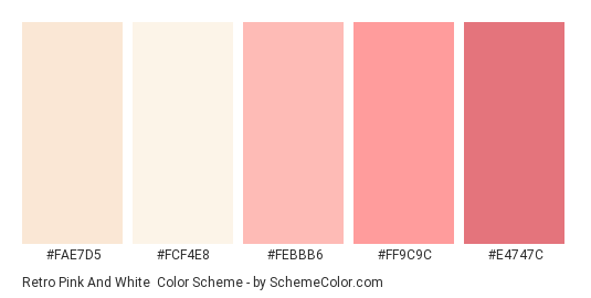 Retro Pink and White - Color scheme palette thumbnail - #FAE7D5 #fcf4e8 #febbb6 #ff9c9c #e4747c