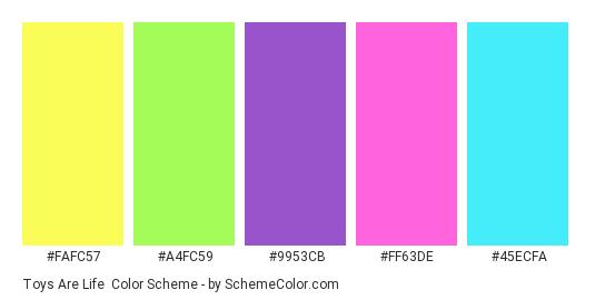 Toys are Life - Color scheme palette thumbnail - #FAFC57 #A4FC59 #9953CB #FF63DE #45ECFA