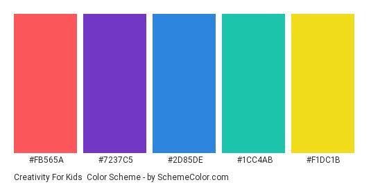 Creativity for Kids - Color scheme palette thumbnail - #FB565A #7237C5 #2D85DE #1CC4AB #F1DC1B