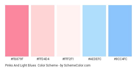 Pinks and Light Blues - Color scheme palette thumbnail - #FB879F #FFD4D4 #FFF2F1 #AEDEFC #8CC4FC