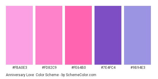 Anniversary Love - Color scheme palette thumbnail - #FBA0E3 #FD82C9 #FE64B0 #7E4FC4 #9B94E3