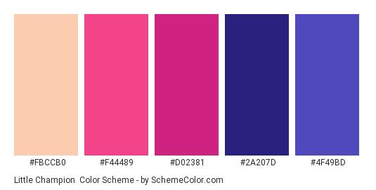 Little Champion - Color scheme palette thumbnail - #FBCCB0 #F44489 #D02381 #2A207D #4F49BD