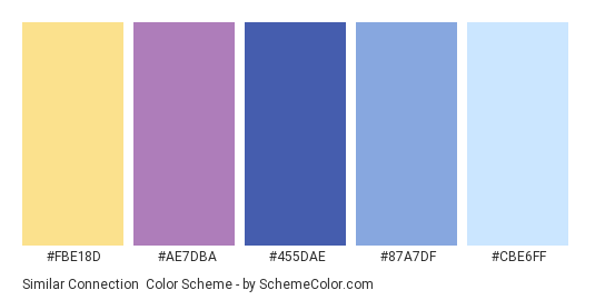 Similar Connection - Color scheme palette thumbnail - #FBE18D #AE7DBA #455DAE #87A7DF #CBE6FF